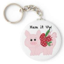 Humorous Christmas Pig - Ham it Up! Keychain