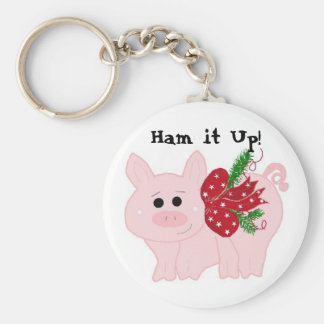 Humorous Christmas Pig - Ham it Up! Keychain