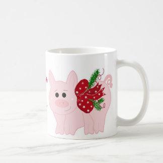 Humorous Christmas Pig with Saying Coffee Mug