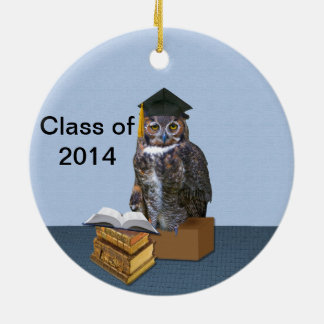 Humorous Class of 2014 Graduation Owl Ceramic Ornament