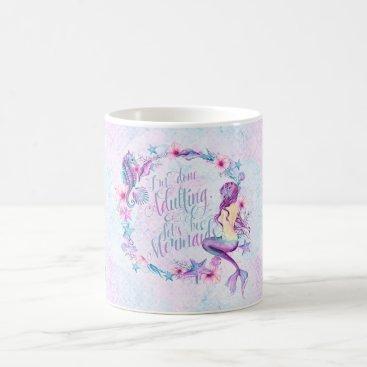 Coffee Themed Humorous Coffee Mug Mermaid Seahorse Lavender Pink