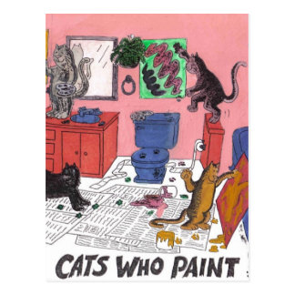 Humorous Color Drawing of House Cats Who Paint Postcard