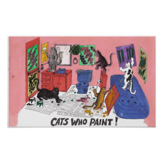 Humorous Color Drawing of House Cats Who Paint Poster