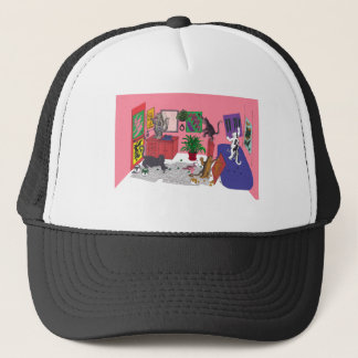 Humorous Color Drawing of House Cats Who Paint Trucker Hat