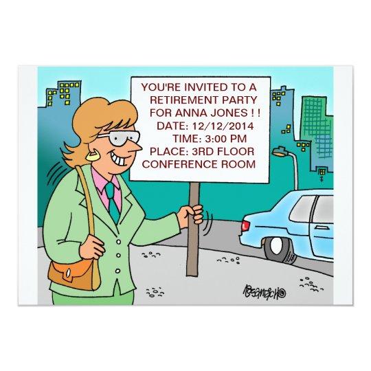HUMOROUS CORPORATE CARTOON RETIREMENT INVITATIONS