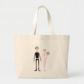 Humorous Country Wedding Couple Large Tote Bag