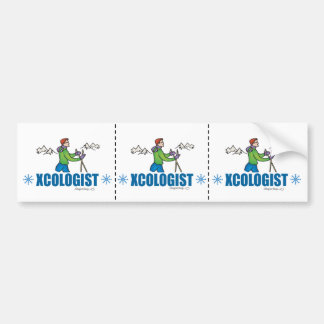 Humorous Cross Country Skiing Guy Bumper Sticker