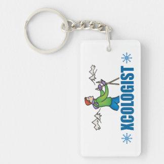 Humorous Cross Country Skiing Keychain