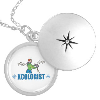 Humorous Cross Country Skiing Silver Plated Necklace