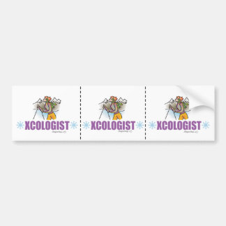 Humorous Cross Country Snow Skiing Bumper Sticker