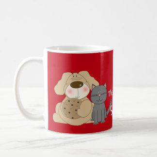 Humorous cute dog and cat Christmas mug
