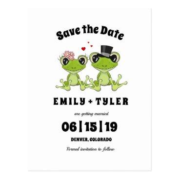 Wedding Themed Humorous Cute Frog Couple Wedding Save The Date © Postcard