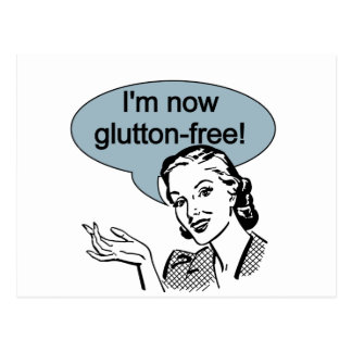 Humorous Dieting Glutton Free Postcard