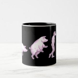 Humorous evolotion of men Two-Tone coffee mug