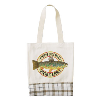 Humorous Fish More Trout Fishing Zazzle HEART Tote Bag