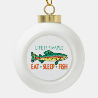 Humorous Fishing Ceramic Ball Christmas Ornament