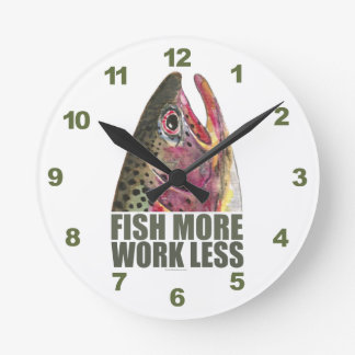 Humorous Fly Fishing Round Clocks
