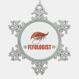 Humorous Fly Fishing Snowflake Pewter Christmas Ornament