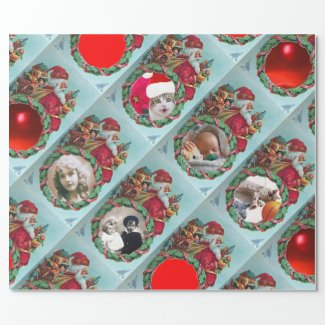 HUMOROUS FUNNY SANTA XMAS CROWN PHOTO TEMPLATE WRAPPING PAPER