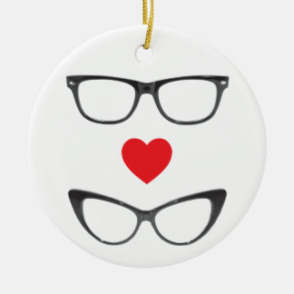 Humorous Geek Love - Heart & Eyeglasses Ceramic Ornament
