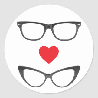 Humorous Geek Love - Heart & Eyeglasses Classic Round Sticker