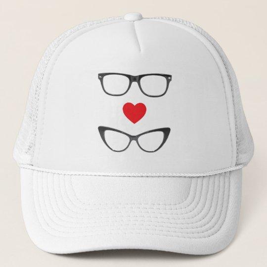Humorous Geek Love - Heart & Eyeglasses Trucker Hat