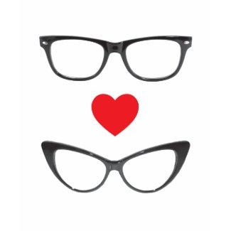 Humorous Geek Love - Heart & Eyeglasses shirt