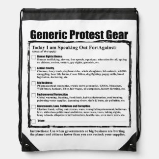 Humorous Generic Protest Gear Drawstring Backpack