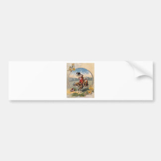 Humorous goat and dog going for a ride bumper sticker