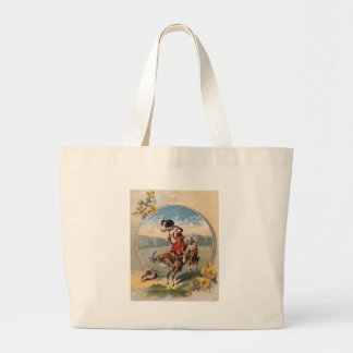 Humorous goat and dog going for a ride large tote bag
