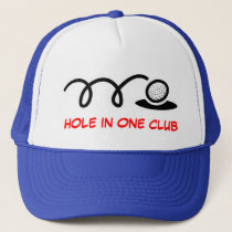 Humorous golf hat   hole in one club
