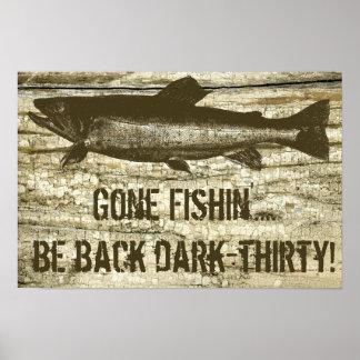 Humorous Gone Fishing Fish Theme Art Poster