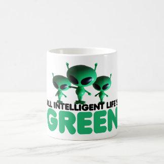 Humorous green coffee mug
