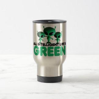 Humorous green travel mug
