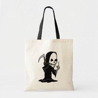 Humorous Grim Reaper giving the Finger Tote Bag