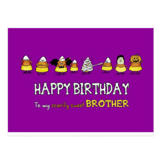 Humorous Halloween - Birthday for Brother - Candy Postcard