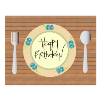 Humorous Happy Birthday on Plate Postcard