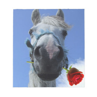 Humorous Horse and Rose love theme Notepad