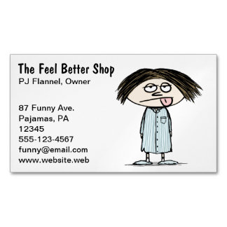 Humorous Illustration | Pajamas Cartoon Character Business Card Magnet