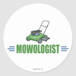 Humorous Lawn Mowing Classic Round Sticker