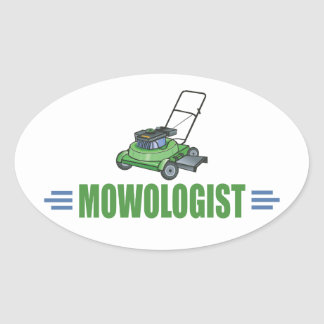 Humorous Lawn Mowing Oval Sticker