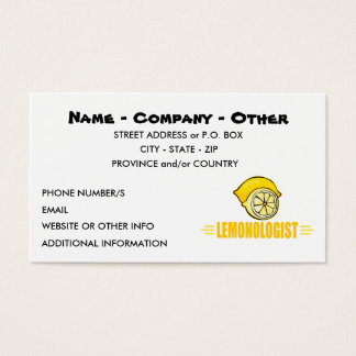 Humorous Lemon Lover Business Card