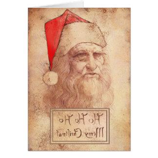 Humorous Leonardo as Santa Card