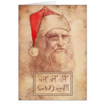 Humorous Leonardo as Santa Greeting Card