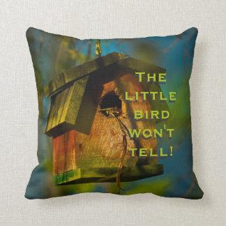 Humorous Little Bird Wont Tell Birdhouse Photograp Pillows