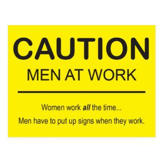 Humorous Men at Work postcard