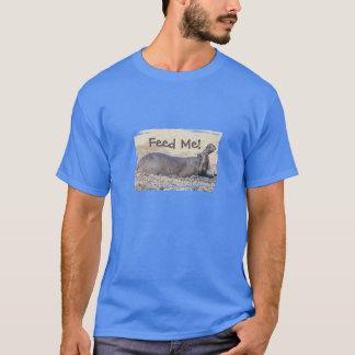 "HUMOROUS MEN'S T-SHIRT/HIPPO IN MUD/""FEED ME"" T-Shirt"