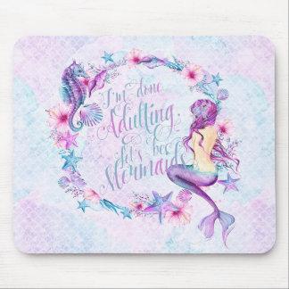 Humorous Mermaid Seahorse Lavender Pink Aqua Mouse Pad