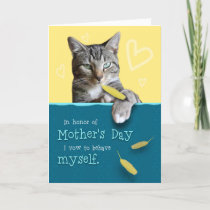 Humorous Mother's Day Card with Naughty Cat