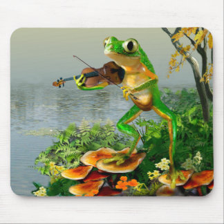 Humorous Mouse Pad with Fiddle Playing frog Animat